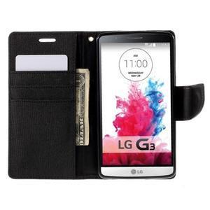 Canvas PU kožené/textilní pouzdro na LG G3 - černé - 6
