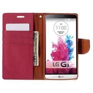 Canvas PU kožené/textilní pouzdro na LG G3 - rose - 6