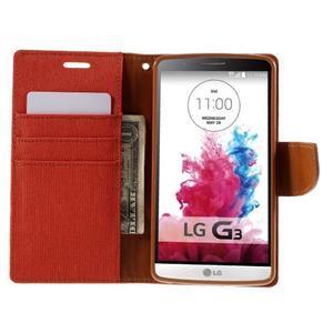 Canvas PU kožené/textilní pouzdro na LG G3 - oranžové - 6