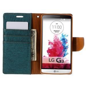 Canvas PU kožené/textilní pouzdro na LG G3 - zelené - 6