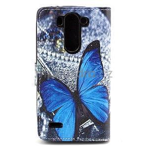 Obrázkové peněženkové pouzdro na LG G3 s - modrý motýl - 6