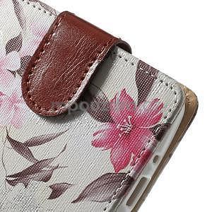 Elegantní lilie peněženkové pouzdro na LG G3 s - bílé - 6