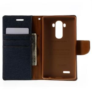Canvas PU kožené/textilní pouzdro na mobil LG G4 - tmavěmodré - 6