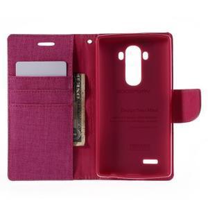 Canvas PU kožené/textilní pouzdro na mobil LG G4 - rose - 6