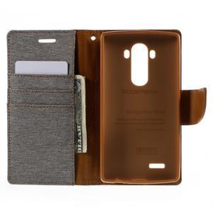 Canvas PU kožené/textilní pouzdro na mobil LG G4 - šedé - 6