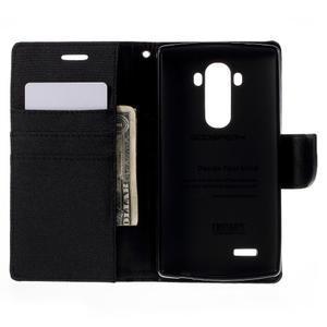 Canvas PU kožené/textilní pouzdro na mobil LG G4 - černé - 6