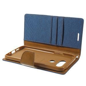 Canvas PU kožené/textilní pouzdro na LG G5 - modré - 6