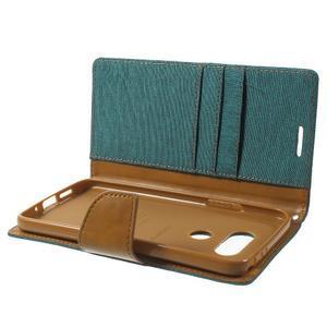Canvas PU kožené/textilní pouzdro na LG G5 - zelené - 6