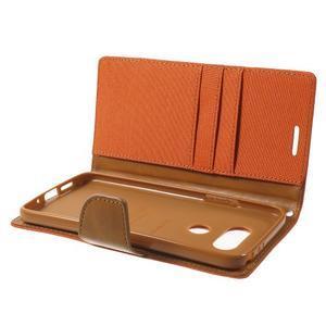 Canvas PU kožené/textilní pouzdro na LG G5 - oranžové - 6