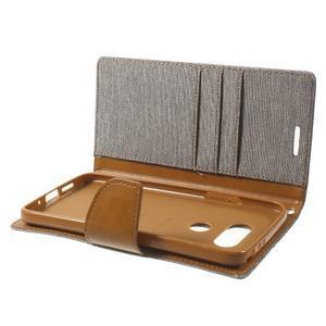 Canvas PU kožené/textilní pouzdro na LG G5 - šedé - 6