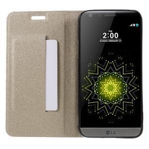 Klopové peneženkové pouzdro na LG G5 - zlaté - 6