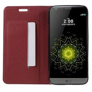 Klopové peneženkové pouzdro na LG G5 - červené - 6