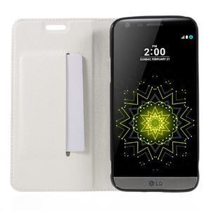 Klopové peneženkové pouzdro na LG G5 - bílé - 6