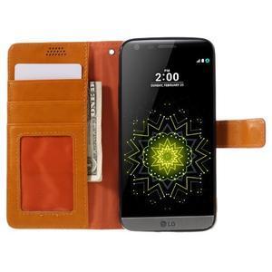 Wax peněženkové pouzdro na LG G5 - oranžové - 6