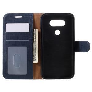 Cloth koženkové peněženkové pouzdro na LG G5 - tmavěmodré - 6