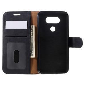 Cloth koženkové peněženkové pouzdro na LG G5 - černé - 6