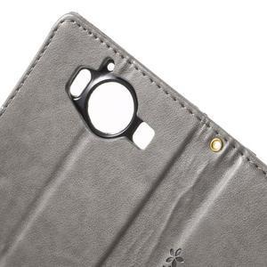 Buttefly PU kožené pouzdro na Microsoft Lumia 950 - šedé - 6