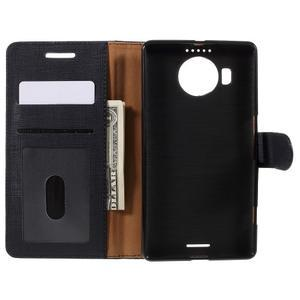 Cloth PU kožené pouzdro na mobil Microsoft Lumia 950 XL - černé - 6