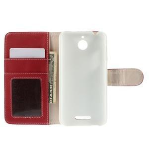 Folio PU kožené pouzdro na mobil HTC Desire 510 - červené - 6