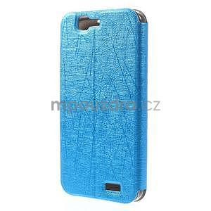 Klopové pouzdro s okýnky na Huawei Ascend G7 - modré - 6