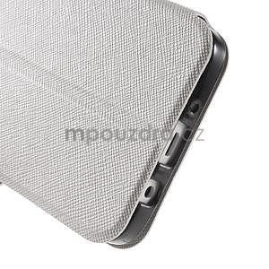 Klopové PU kožené pouzdro na Samsung Galaxy A3 - bílé - 6