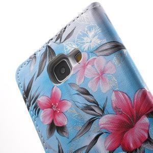 Květinové peněženkové pouzdro na Samsung Galaxy A5 (2016) - modré - 6