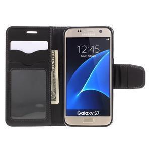 Rich PU kožené peněženkové pouzdro na Samsung Galaxy S7 - černé - 6