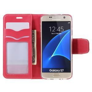 Rich PU kožené peněženkové pouzdro na Samsung Galaxy S7 - rose - 6