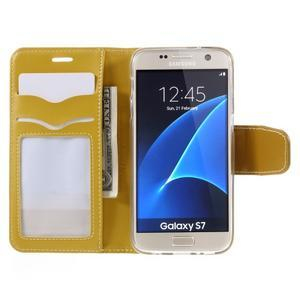 Rich PU kožené peněženkové pouzdro na Samsung Galaxy S7 - žluté - 6