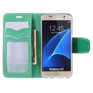 Rich PU kožené peněženkové pouzdro na Samsung Galaxy S7 - azurové - 6