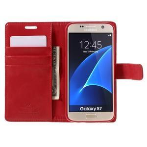 Moon PU kožené pouzdro na mobil Samsung Galaxy S7 - červené - 6