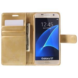 Moon PU kožené pouzdro na mobil Samsung Galaxy S7 - zlaté - 6