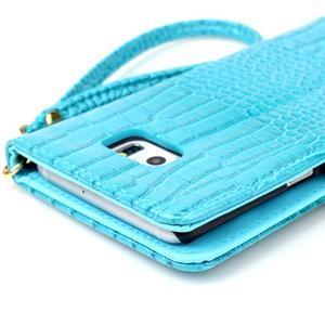 Croco styl peněženkové pouzdro na Samsung Galaxy S7 - modré - 6