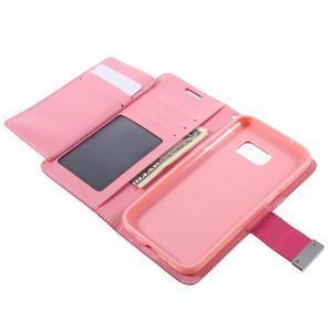 Luxury PU kožené pouzdro na Samsung Galaxy S7 - růžové - 6