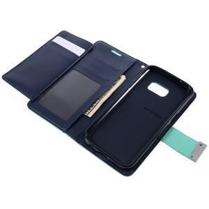 Luxury PU kožené pouzdro na Samsung Galaxy S7 - azurové - 6