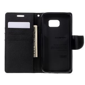 Canvas PU kožené/textilní pouzdro na Samsung Galaxy S7 - černé - 6