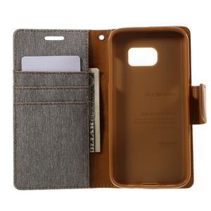 Canvas PU kožené/textilní pouzdro na Samsung Galaxy S7 - šedé - 6