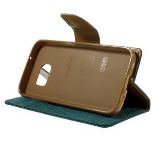 Canvas PU kožené/textilní pouzdro na Samsung Galaxy S7 - zelené - 6