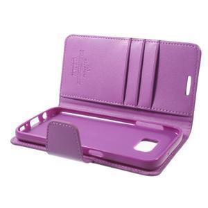 Sonata PU kožené pouzdro na Samsung Galaxy S7 - fialové - 6