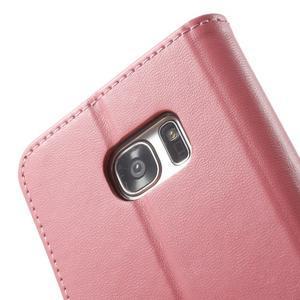 Rich PU kožené pouzdro na Samsung Galaxy S7 edge - růžové - 6