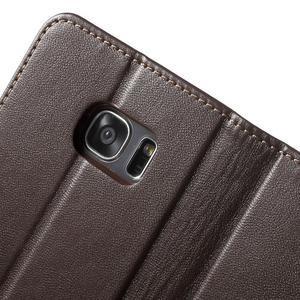 Rich PU kožené pouzdro na Samsung Galaxy S7 edge - hnědé - 6