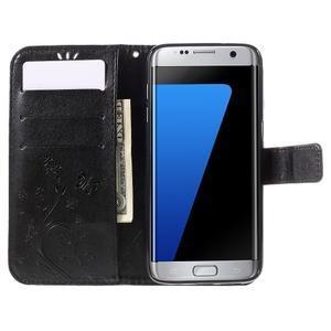 Butterfly PU kožené pouzdro na Samsung Galaxy S7 edge - černé - 6