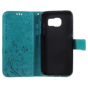 Butterfly PU kožené pouzdro na Samsung Galaxy S7 edge - modré - 6