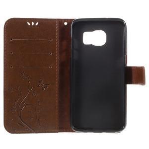 Butterfly PU kožené pouzdro na Samsung Galaxy S7 edge - hnědé - 6