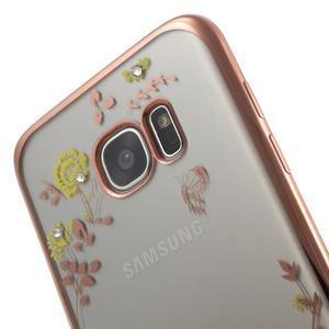 Nice gelový obal s kamínky na Samsung Galaxy S7 edge - žluté květiny - 6