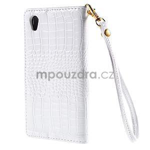 Bílé PU kožené pouzdro aligátor pro Sony Xperia M4 Aqua - 6