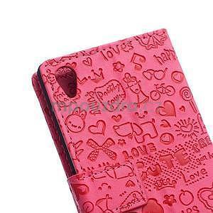 Rose texturované pouzdro na Sony Xperia M4 Aqua - 6