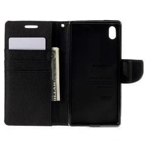 Canvas PU kožené/textilní pouzdro na Sony Xperia Z5 - černé - 6