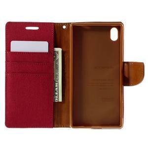 Canvas PU kožené/textilní pouzdro na Sony Xperia Z5 - červené - 6