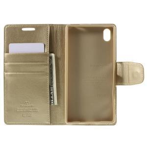 Sonata PU kožené peněženkové pouzdro na Sony Xperia Z5 - zlaté - 6